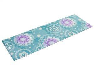 Коврик для йоги Замшевый каучуковый двухслойный 3мм Record (размер 1,83мx0,61мx3мм, бирюзовй-фиолетовый, с цветочным принтом)