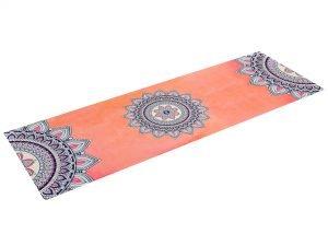Коврик для йоги Замшевый каучуковый двухслойный 3мм Record (размер 1,83мx0,61мx3мм, коралловый, с принтом Мандала)