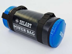 Мешок для кроссфита и фитнеса Power Bag (PVC, нейлон, вес 15кг, черный-синий)