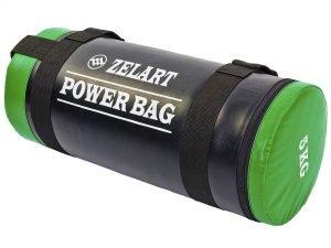 Мешок для кроссфита и фитнеса Power Bag (PVC, нейлон, вес 5кг, черный-зеленый)