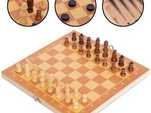 Шахматы, шашки, нарды 3 в 1 деревянные (фигуры-дерево, р-р доски 24×24см)