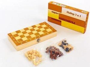 Шахматы, шашки, нарды 3 в 1 деревянные (фигуры-дерево, р-р доски 29×29см)