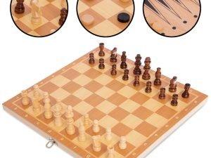 Шахматы, шашки, нарды 3 в 1 деревянные (фигуры-дерево, р-р доски 34×34см)