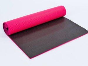 Коврик для фитнеса и йоги PVC 6мм двухслойный SP-Planeta (размер 1,73мx0,61мx6мм, малиновый-черный)