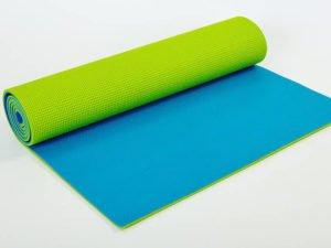Коврик для фитнеса и йоги PVC 6мм двухслойный SP-Planeta (размер 1,73мx0,61мx6мм, салатовый-голубой)
