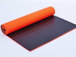 Коврик для фитнеса и йоги PVC 6мм двухслойный SP-Planeta (размер 1,73мx0,61мx6мм, оранжевый-черный)