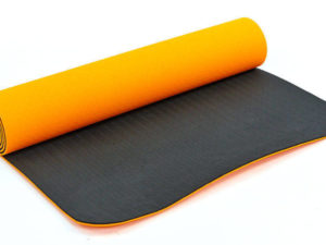 Коврик для фитнеса и йоги TPE+TC 6мм двухслойный SP-Planeta (размер 1,83мx0,61мx6мм, оранжевый-черный)