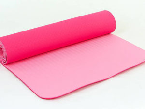 Коврик для фитнеса и йоги TPE+TC 6мм двухслойный SP-Planeta (размер 1,83мx0,61мx6мм, розовый-светло-розовый)
