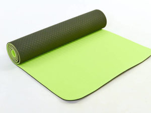Коврик для фитнеса и йоги TPE+TC 6мм двухслойный SP-Planeta (размер 1,83мx0,61мx6мм, т.зеленый-салатовый)