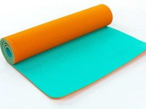 Коврик для фитнеса и йоги TPE+TC 6мм двухслойный ZELART (размер 1,73мx0,61мx6мм, оранжевый-мятный)
