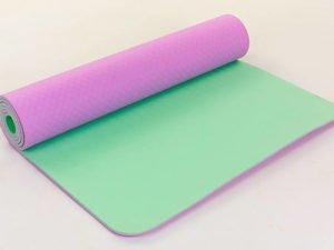 Коврик для фитнеса и йоги TPE+TC 6мм двухслойный ZELART (размер 1,73мx0,61мx6мм, св.фиолетовый-мятный)
