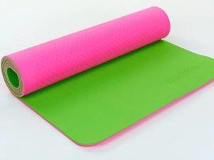 Коврик для фитнеса и йоги TPE+TC 6мм двухслойный ZELART (размер 1,73мx0,61мx6мм, малиновый-салатовый)