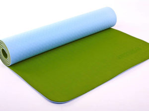 Коврик для фитнеса и йоги TPE+TC 6мм двухслойный ZELART (размер 1,73мx0,61мx6мм, голубой-оливковый)