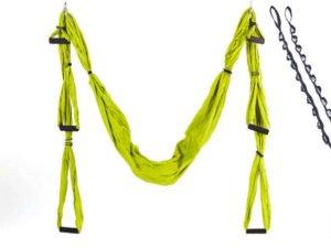 Гамак для йоги с ручками и стропами SP-Planeta Antigravity Yoga (нейлон, р-р 280х150см, салатовый)