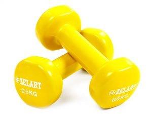 Гантели для фитнеса с виниловым покрытием Zelart Beauty TA-5225-0,5 (2x0,5кг) (2шт, цвета в ассортименте) - Цвет Желтый
