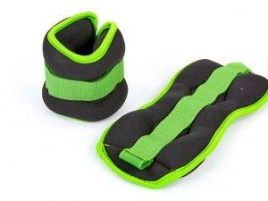 Утяжелители-манжеты для рук и ног (2 x 1кг) (неопрен, метал.шарики, цвета в ассортименте) - Цвет Черный-салатовый