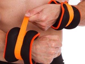 Утяжелители-манжеты для рук и ног (2 x 2кг) (неопрен, метал.шарики, цвета в ассортименте) - Цвет Черный-белый-оранжевый