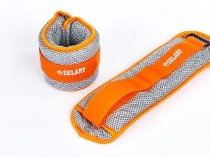 Утяжелители-манжеты водонепроницаемые (2 x 1кг) (полиэстер, сетка, наполнитель-гель, цвета в ассортименте) - Цвет Серый-оранжевый