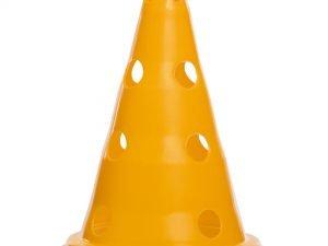 Фишка спортивная конус с отверстиями для штанги и держателем сверху 30см С-6422 (пластик, 30см, цвета в ассортименте) - Цвет Желтый