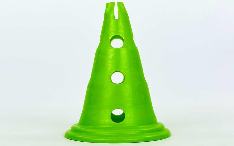 Фишка спортивная конус с отверстиями для штанги и держателем сверху 30см С-6422 (пластик, 30см, цвета в ассортименте)