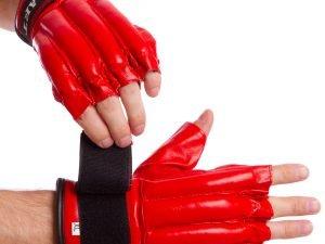 Снарядные перчатки шингарты кожанные с манжетом на липучке ZELART (размер M-XL, цвета в ассортименте) - Красный-L