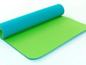Коврик для фитнеса и йоги TPE+TC 6мм двухслойный ZELART (размер 1,73мx0,61мx6мм, бирюзовый-салатовый)