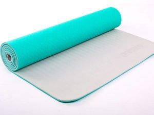 Коврик для фитнеса и йоги TPE+TC 6мм двухслойный ZELART (размер 1,73мx0,61мx6мм, мятный-серый)