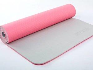 Коврик для фитнеса и йоги TPE+TC 6мм двухслойный ZELART (размер 1,73мx0,61мx6мм, розовый-серый)
