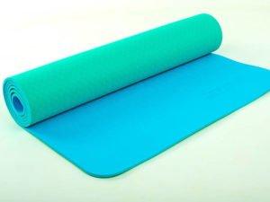 Коврик для фитнеса и йоги TPE+TC 6мм двухслойный ZELART (размер 1,73мx0,61мx6мм, мятный-голубой)