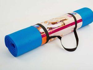 Коврик для туризма и фитнеса 10мм Record (NBR, размер 1,83мх0,8мх1см, с фиксирующей резинкой, цвет синий)