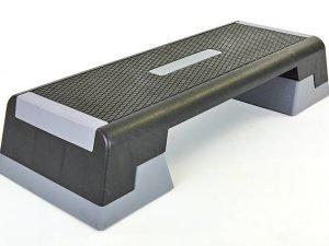 Степ-платформа (пластик, покрытие TPR, р-р 101Lx36Wx15(20)Hсм, черный-серый)