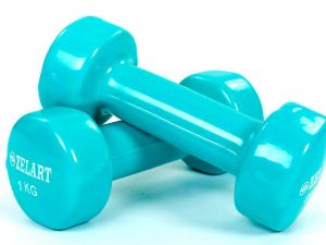 Гантели для фитнеса с виниловым покрытием Zelart Beauty (2x1кг) (2шт, цвета в ассортименте) - Цвет Бирюзовый