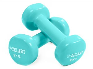 Гантели для фитнеса с виниловым покрытием Zelart Beauty (2x2кг) (2шт, цвета в ассортименте) - Цвет Бирюзовый