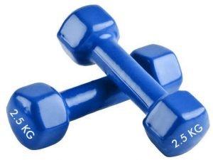 Гантели для фитнеса с виниловым покрытием SP-Planeta Радуга ТА-0001-2_5 (2x2,5кг) (2шт, цвета в ассортименте) - Цвет Синий