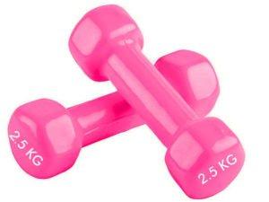 Гантели для фитнеса с виниловым покрытием SP-Planeta Радуга ТА-0001-2_5 (2x2,5кг) (2шт, цвета в ассортименте) - Цвет Розовый