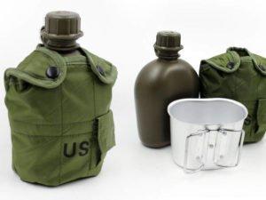 Фляга с котелком V-1л в чехле (пластик, чехол оливковый)