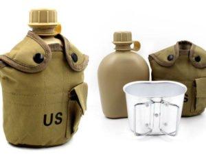 Фляга с котелком V-1л в чехле (пластик, чехол хаки)
