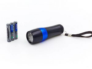 Фонарик светодиодный (металл, пластик, l-9,3см, 12 светодиодов, на батарейках (3 AAA)