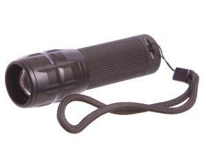 Фонарик светодиодный (металл,пластик,l-10см,1Cree лампа,zoom,на батар.(3ААА))