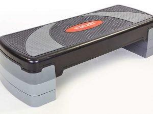 Степ-платформа (пластик, покрытие TPR, р-р 78Lx29Wx10H+5+5см, черный)