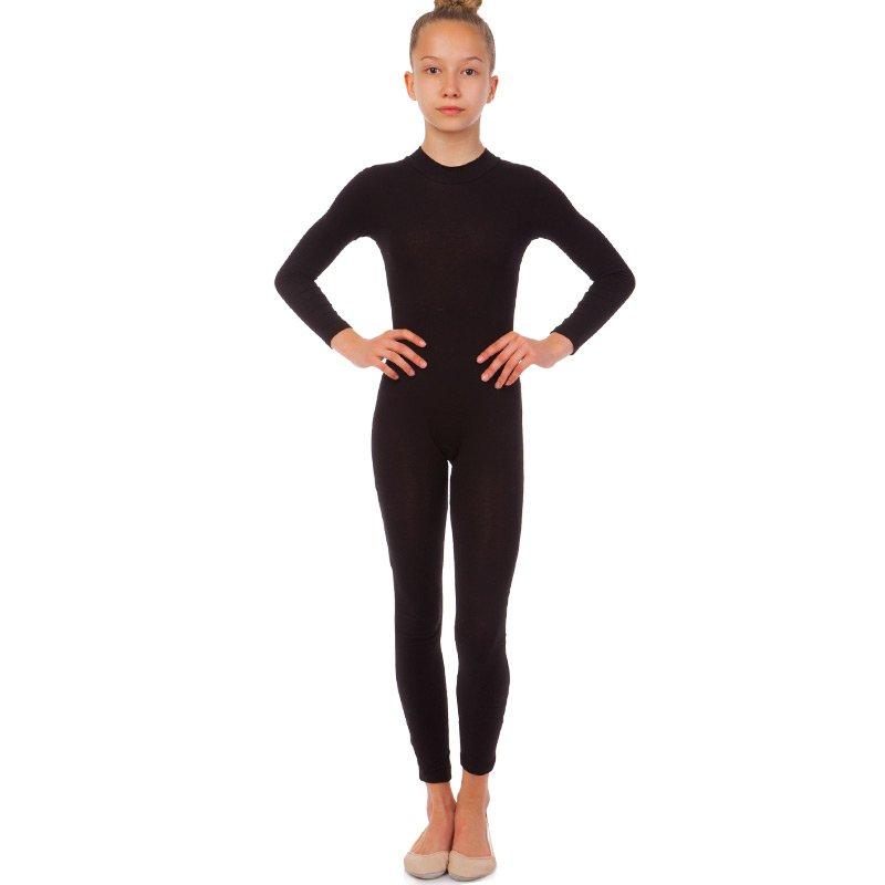 Комбинезон гимнастический с длинным рукавом SP-Planeta размер 32-42 рост 122-164см черный