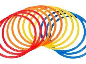 Кольца тренировочные (пластик, d-70см, в комплекте 12шт.красный, желтый, синий, оранжевый)