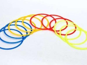 Кольца тренировочные в чехле (пластик, d-40см, в комплекте 12шт, красный, желтый, синий, оранжевый)