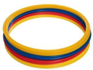 Кольца тренировочные в чехле (пластик, d-50см, в комплекте 12шт, красный, желтый, синий, оранжевый)