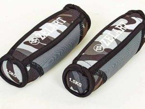 Гантели для фитнеса с мягкими накладками Zelart (2×1,5кг) (2шт, наполнитель-метал.шарики, серый камуфляж)