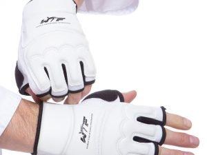 Перчатки для тхэквондо WTF (PU, полиэстер, р-р XS-XL, белый) - L