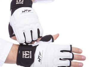 Перчатки для тхэквондо с фиксатором запястья MTO (PU, полиэстер, р-р S-XL, белый) - L