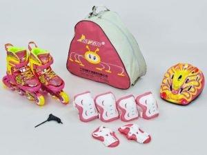 Роликовые коньки раздвижные детские в наборе защита, шлем, сумка JINGFENG размер 31-38 розовый - M (35-38)