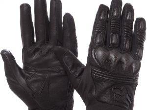 Мотоперчатки кожаные с закрытыми пальцами и протектором FOX (р-р L-M, черный) - L