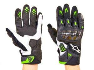 Мотоперчатки кожаные с закрытыми пальцами и протектором MONSTER (р-р L-M, черный-белый) - L